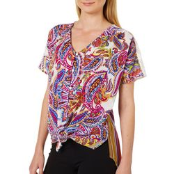 Figueroa and Flower Womens Paisley Stripe Lace Tie Front Top