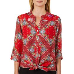 Figueroa and Flower Womens Printed Lace Yoke Tie Front Top