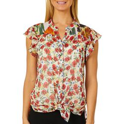 Figueroa and Flower Womens Floral Flutter Tie Front Top