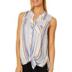 Figueroa and Flower Womens Vertical Stripe Tie Front Top