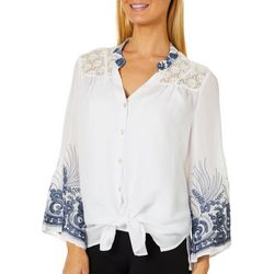 Figueroa and Flower Womens Embroidered Lace Tunic Top
