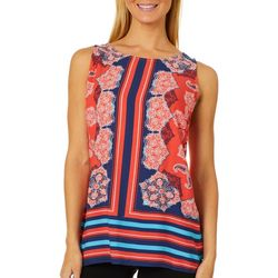 Figueroa and Flower Womens Medallion Stripe Sleeveless Top