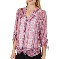Figueroa and Flower Womens Mixed Floral Tie Front Top