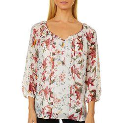 Figueroa and Flower Womens Floral Stripe Tassel Top