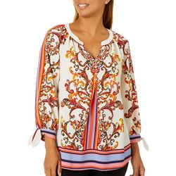 Figueroa and Flower Womens Striped Paisley Tie Sleeve Top