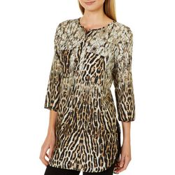 Figueroa and Flower Womens Shimmery Animal Print Tunic Top