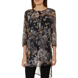 Figueroa and Flower Womens Kendra Metallic Floral Top