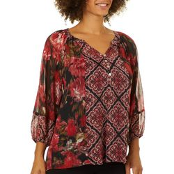 Figueroa and Flower Womens Floral Medallion Sheer Top
