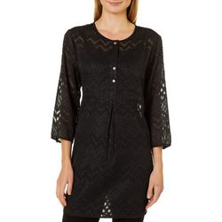 Figueroa and Flower Womens Shimmery Sheer Tunic Top