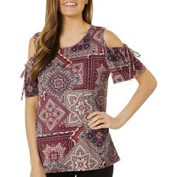 Dept 222 Womens Mixed Patchwork Print Cold Shoulder Top