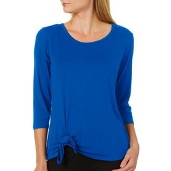 Ava James Womens Solid Round Neck Side Tie Top
