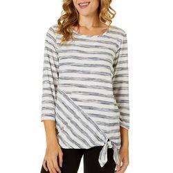 Ava James Womens Sketchy Striped Top