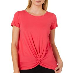 Ava James Womens Solid Round Neck Twist Front Top