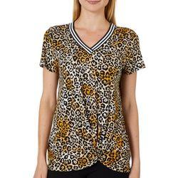 Ava James Womens Cheetah Print Twist Front Top