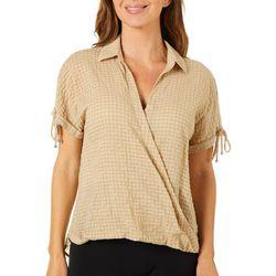 Ava James Womens Grid Plaid Surplice Short Sleeve Top
