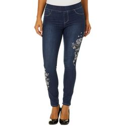 Sound Style Womens Embroidered Floral Pull On Jeggings