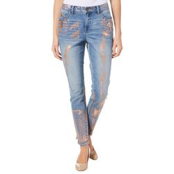 Sound Style Womens Metallic Foil Denim Jeans