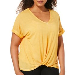 Dantelle Womens Mineral Wash Solid Twist Front V-Neck Top