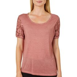 Dantelle Womens Mineral Wash Floral Lace Sleeve Top