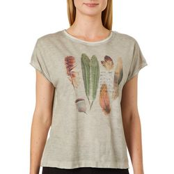 Dantelle Womens Mineral Wash Crochet Back Feather Print Top