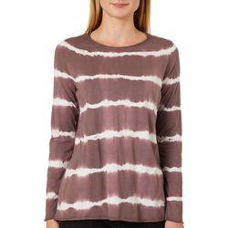 Dantelle Womens Mineral Wash Tie Dye Striped Long Sleeve Top
