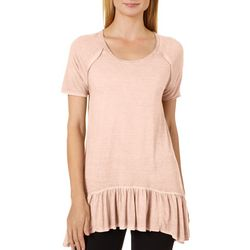 Dantelle Womens Mineral Wash Ruffle Hem Top