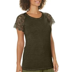 Dantelle Womens Mineral Wash Crochet Sleeve Top