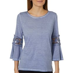 Dantelle Womens Mineral Wash Bell Sleeve Top