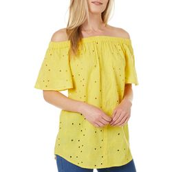 Studio West Womens Off The Shoulder Yellow Floral Eyelet Top