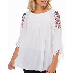 Studio West Womens Floral Embroidered Tassel Top