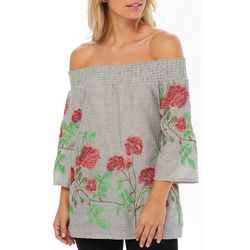 Studio West Womens Floral Embroidered Striped Tassel Top
