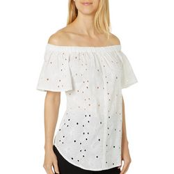 Studio West Womens Off The Shoulder Floral Eyelet Top