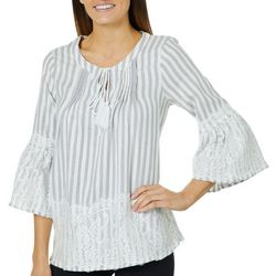 Studio West Womens Striped Lace Trim Tassel Top