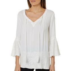 Studio West Womens Lace Trim Bell Sleeve Tassel Top