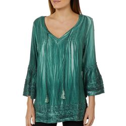 Studio West Womens Crochet Tie Dye Tassel Top