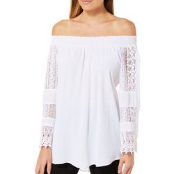 Studio West Womens Boho Crochet Off The Shoulder Top