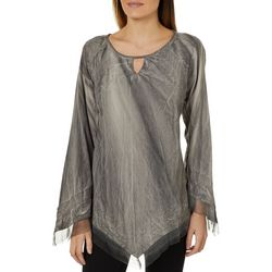 Studio West Womens Embroidered Mesh Trim Top