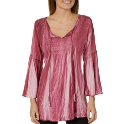 Studio West Womens Embroidered Bell Sleeve Tassel Top