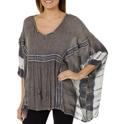 Studio West Womens Embroidered Tie Dye Poncho Top