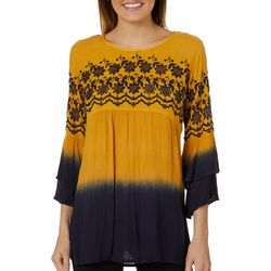 Studio West Womens Embroidered Floral Ombre Top