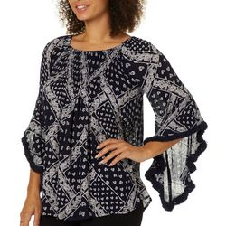 Studio West Womens Striped Poncho Tassel Top