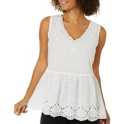 Studio West Womens Embroidered Eyelet Sleeveless Top