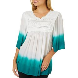 Studio West Womens  Dip Dye Crochet Detail Split Neck Top