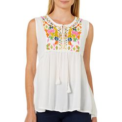 Studio West Womens Embroidered Tie Neck Sleeveless Yoke Top
