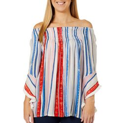 Studio West Womens Striped Off The Shoulder Smocked Top