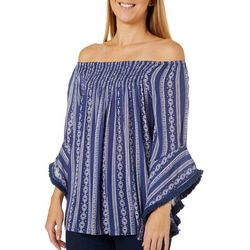 Studio West Womens Geometric Off The Shoulder Tassel Top