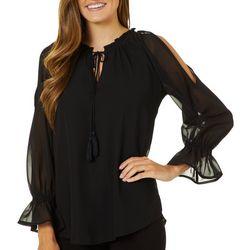 Studio West Womens Solid Open Sleeve Top