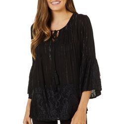 Studio West Womens Metallic Stripe Lace Bell Sleeve Top