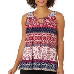 Alkamy Womens Striped Crochet Yoke Neck Top