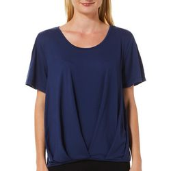 Alkamy Womens Solid Tuck Front Pleated Short Sleeve Top